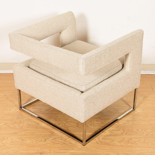 Pair Milo Baughman Open Back Club Chairs For Sale In Washington DC - Image 6 of 13