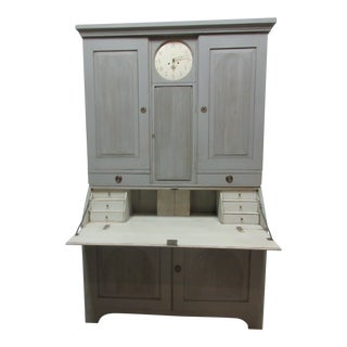 Swedish Gustavian Clock Secretary Hutch For Sale