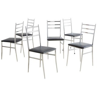 Set of Six Gio Ponti Superleggera Style Dining Chairs