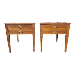 Set of 2- Vintage Henredon Fine Furniture Walnut End Tables For Sale