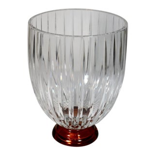 Contemporary Art Glass Beveled Clear Crystal Vase For Sale