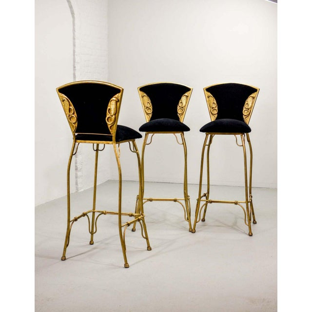 Mid-Century Italian Design Set of Gilded Forged Steel 'GOLD COBRA' Bar Stools, Set of Ten, 1970s For Sale - Image 6 of 13
