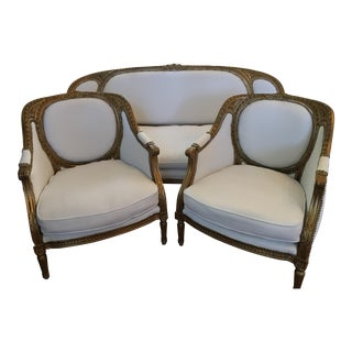 Louis XVI Bergere Chairs and Settee - 3 Pc.