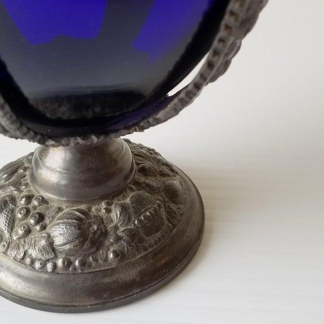Metal 1920s Progress Novelty Casting Works Cobalt Blue Candy Dish For Sale - Image 7 of 13