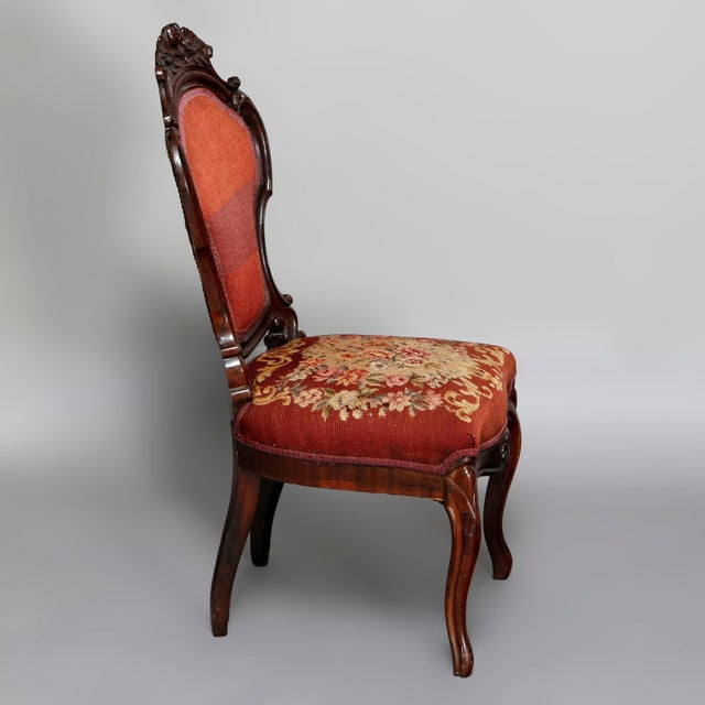 Traditional Mid 19th Century Antique Victorian Carved Walnut and Floral Needlepoint Parlor Chair For Sale - Image 3 of 7
