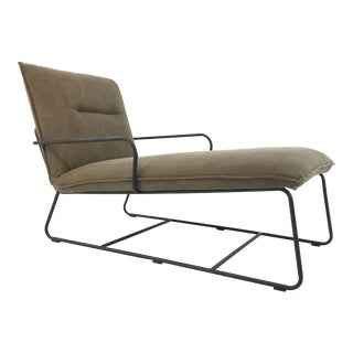 Organic Modern Metal Taupe Chaise Lounger For Sale