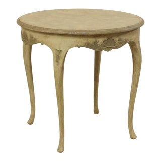 Swedish Round Painted Wood Occasional Table For Sale