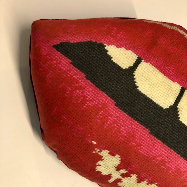 """Feather Modern """"Embrasse Moi"""" Red Velvet Hot Lips Pillow For Sale - Image 7 of 12"""