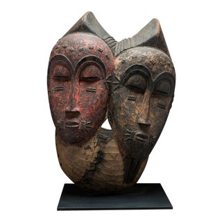 Baule Bicephalous Wooden Mask For Sale