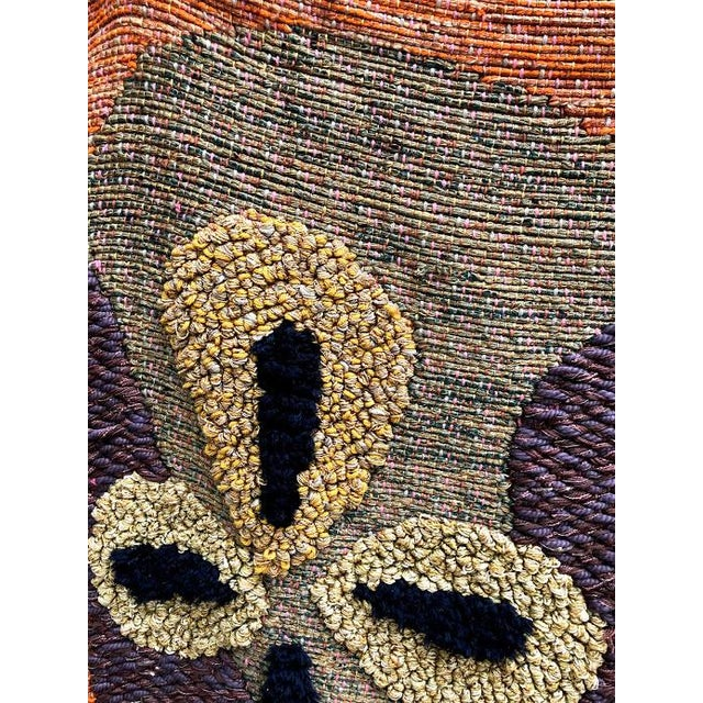 1950s Giant Hand-Loomed Polynesian Abstract Tapestry For Sale - Image 6 of 9