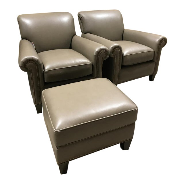 Brand New Hancock & Moore Leather Studio Chairs & Ottoman - Set of 3 For Sale