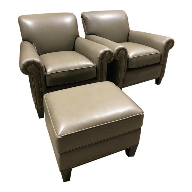 Hancock & Moore Leather Studio Chairs & Ottoman - Set of 3 - Image 1 of 7