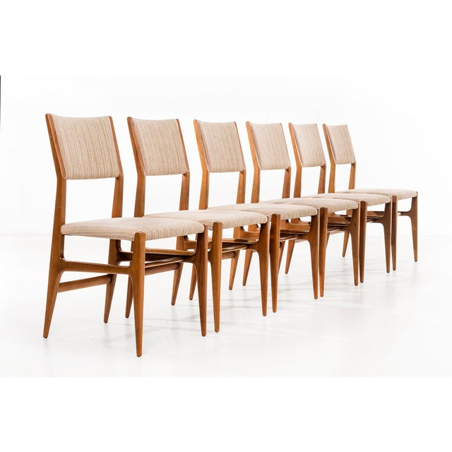 Ponti for Singer & Sons set of 6 dining chairs, Model 116. Bleached walnut with reupholstered seats and backs in a Great...