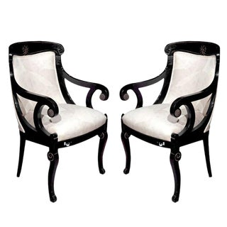 Pair of Hollywood Regency Style Ebonized Armchairs For Sale