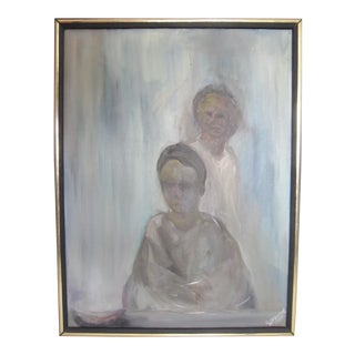 Signed Mid-Century Abstract Portrait For Sale