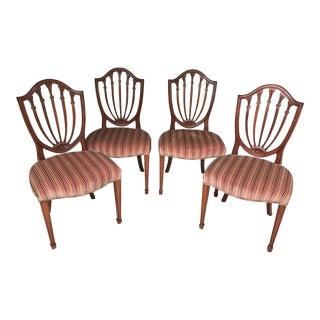 Hepplewhite Mahogany Shield Back Dining Chairs - Set of 4 For Sale