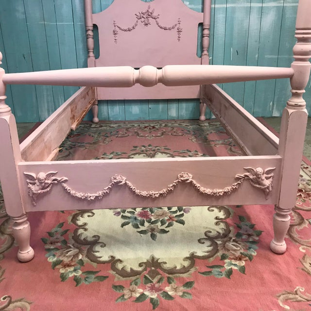 Antique Shabby Chic Pink Mahogany Four Poster Bed Chairish