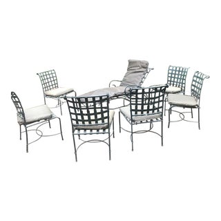 Black Metal Brown Jordan Patio Chairs & Chaise - Set of 7 For Sale