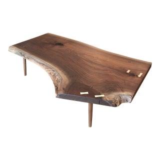 Mid-Century Modern Black Walnut Live Edge Slab Coffee Table