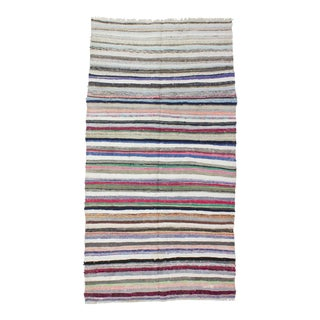 1960s Turkish Striped Wool Rag Rug For Sale
