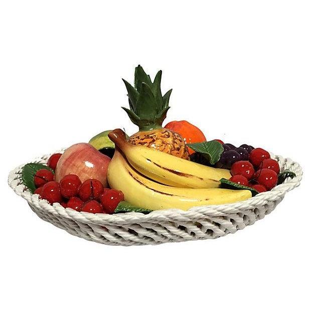 Green Vintage Italian Majolica Fruit Basket For Sale - Image 8 of 8