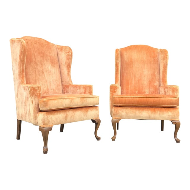 Vintage Velvet Wingback Chairs - a Pair For Sale