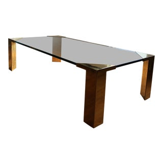 Vintage Mid Century Post Modern Brass and Glass Cocktail Coffee Table For Sale