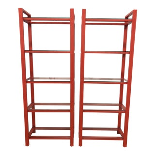 Pair of Crate & Barrel Pilsen Paprika Bookcases For Sale