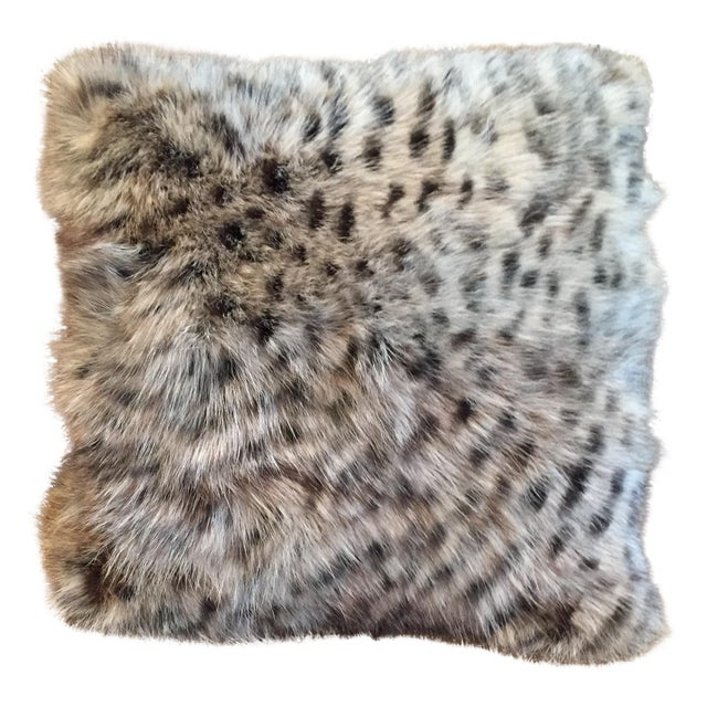 Animal Print Real Fox Fur Square Decorative Accent Pillow - Image 1 of 6