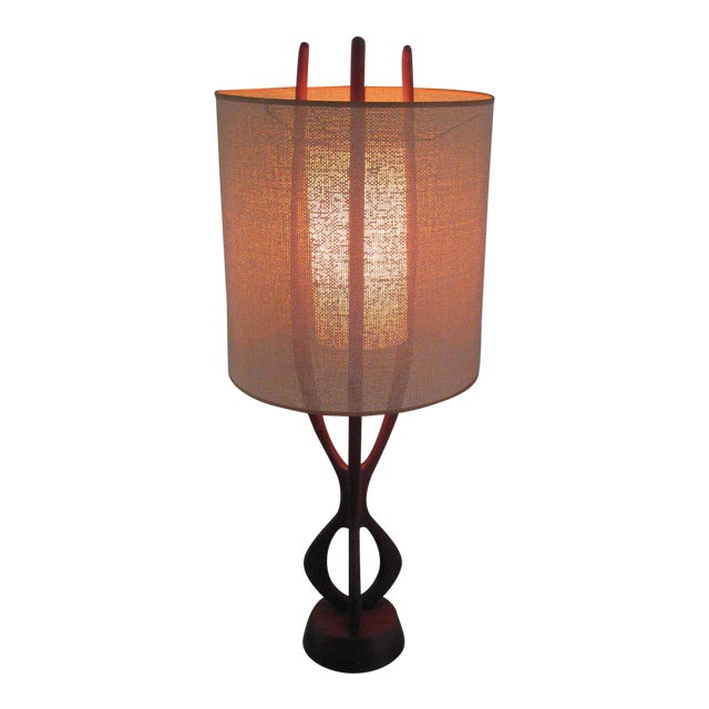 Pearsall Walnut Lamp With Original Shade For Sale