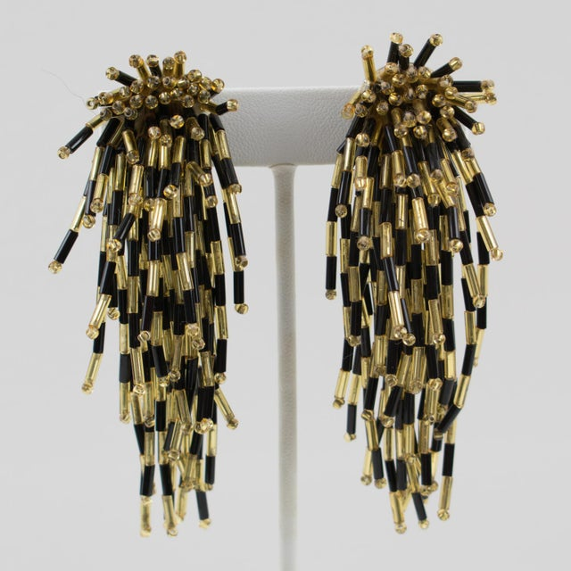 Oversized Shoulder Duster Waterfall Black and Gold Glass Clip-on Earrings For Sale In Atlanta - Image 6 of 6