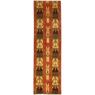 """Ikat Hand Knotted Runner Rug - 3' 1"""" x 10' 2"""""""
