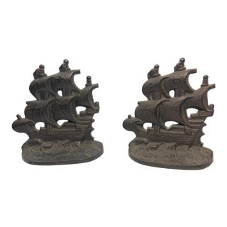 Vintage Galleon Bookends - a Pair For Sale