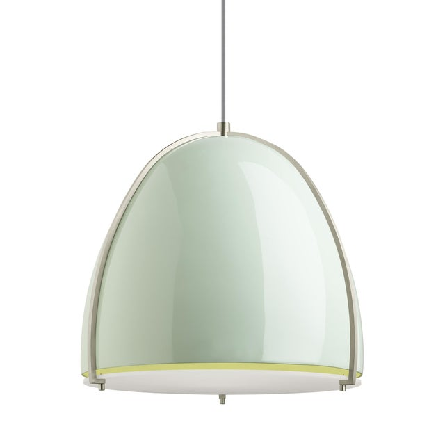 Mid-Century Modern Paravo Pendant LED Mint and Satin Nickel For Sale - Image 3 of 3