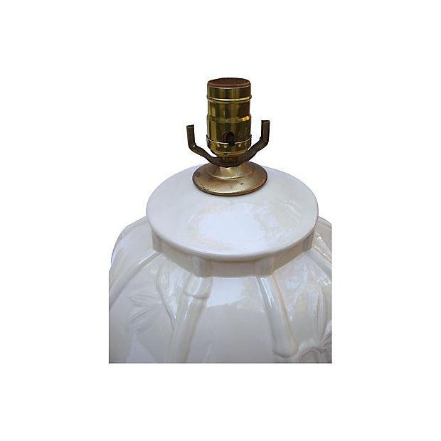 Hollywood Regency White Ceramic Bamboo Design Lamps - A Pair For Sale - Image 3 of 6