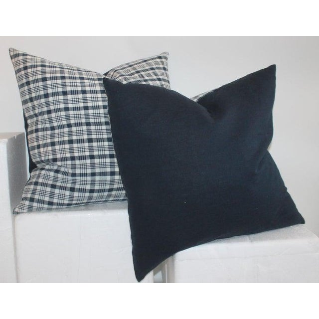 Rustic 19th Century Homespun Linen Blue and White Pillows- 4 Pieces For Sale - Image 3 of 7