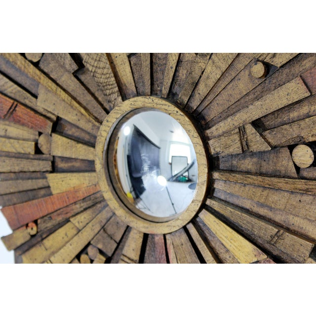 Mid-Century Modern Pair of Lane Brutalist Wood Mirrors for Mosaic Line Evans Era For Sale - Image 9 of 11