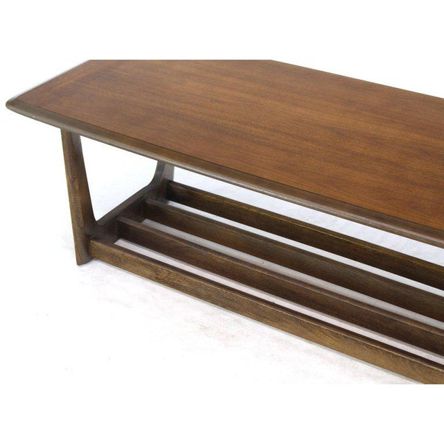 Brown Lane Rounded Rectangle Shape Two-Tier Walnut Coffee Table For Sale - Image 8 of 11