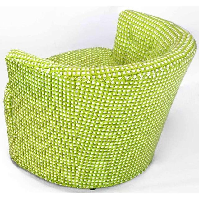 Pair Barrel Back Swivel Chairs In Chartreuse Needlepoint - Image 5 of 8