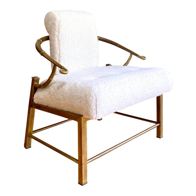 Vintage Mastercraft Brass Empress Lounge Chair in Faux Shearling For Sale