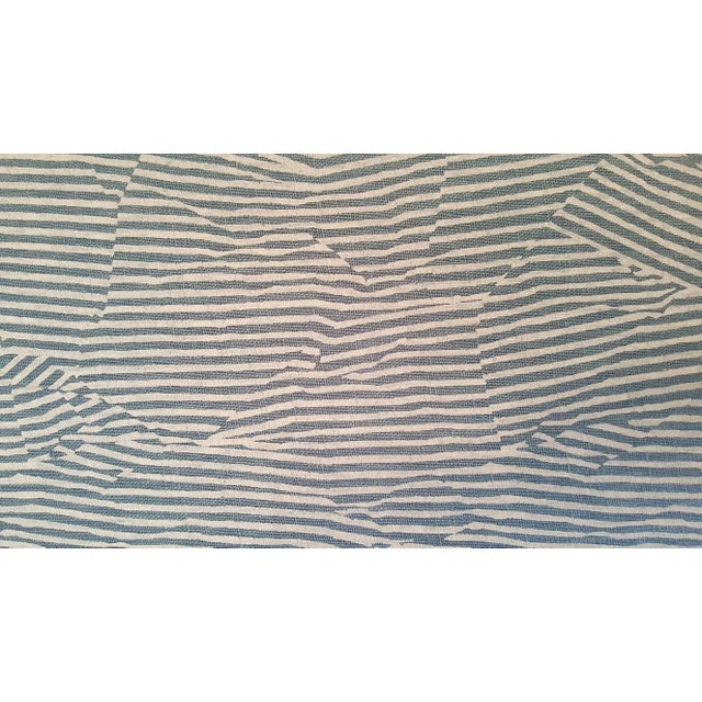 Striped Upholstered Chrome Bench For Sale In Austin - Image 6 of 6