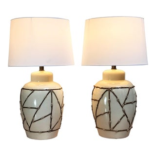 Vintage Mid Century Chinoiserie Bamboo Trellis Ceramic Lamps - a Pair For Sale