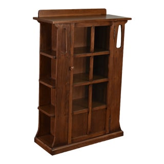 Crafters and Weavers Mission 1 Door Bookcase With Side Shelves Dark For Sale
