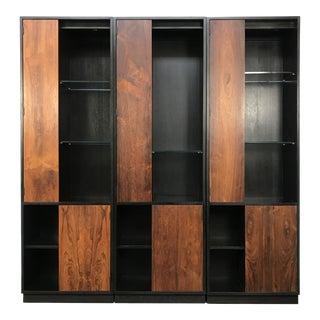 Set of 3 Breakfront Display Cabinets by Harvey Probber With Rosewood Doors For Sale