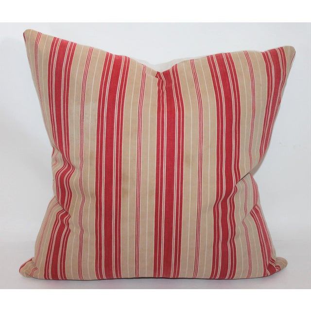 Red Striped Ticking Pillow - Image 2 of 5