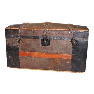 Vintage Brown Rustic Tin Clad Wood Camelback Trunk