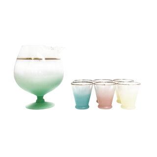 Retro Ombre Pastel Aperitif Glassware Set For Sale
