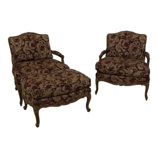 Pair French Louis XV Bergere Chairs & Matching Ottoman For Sale