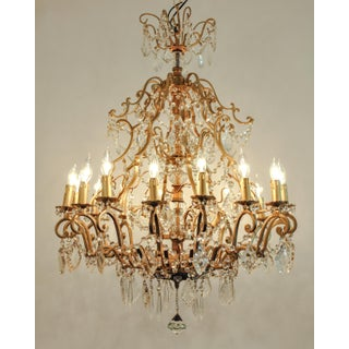 Vintage French Cut Crystal/Brass frame Sixteen Arms Chandelier Preview