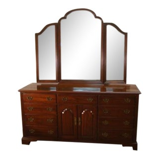 1980s Traditional Knob Creek Solid Cherry Dresser With Tri Fold Mirror For Sale